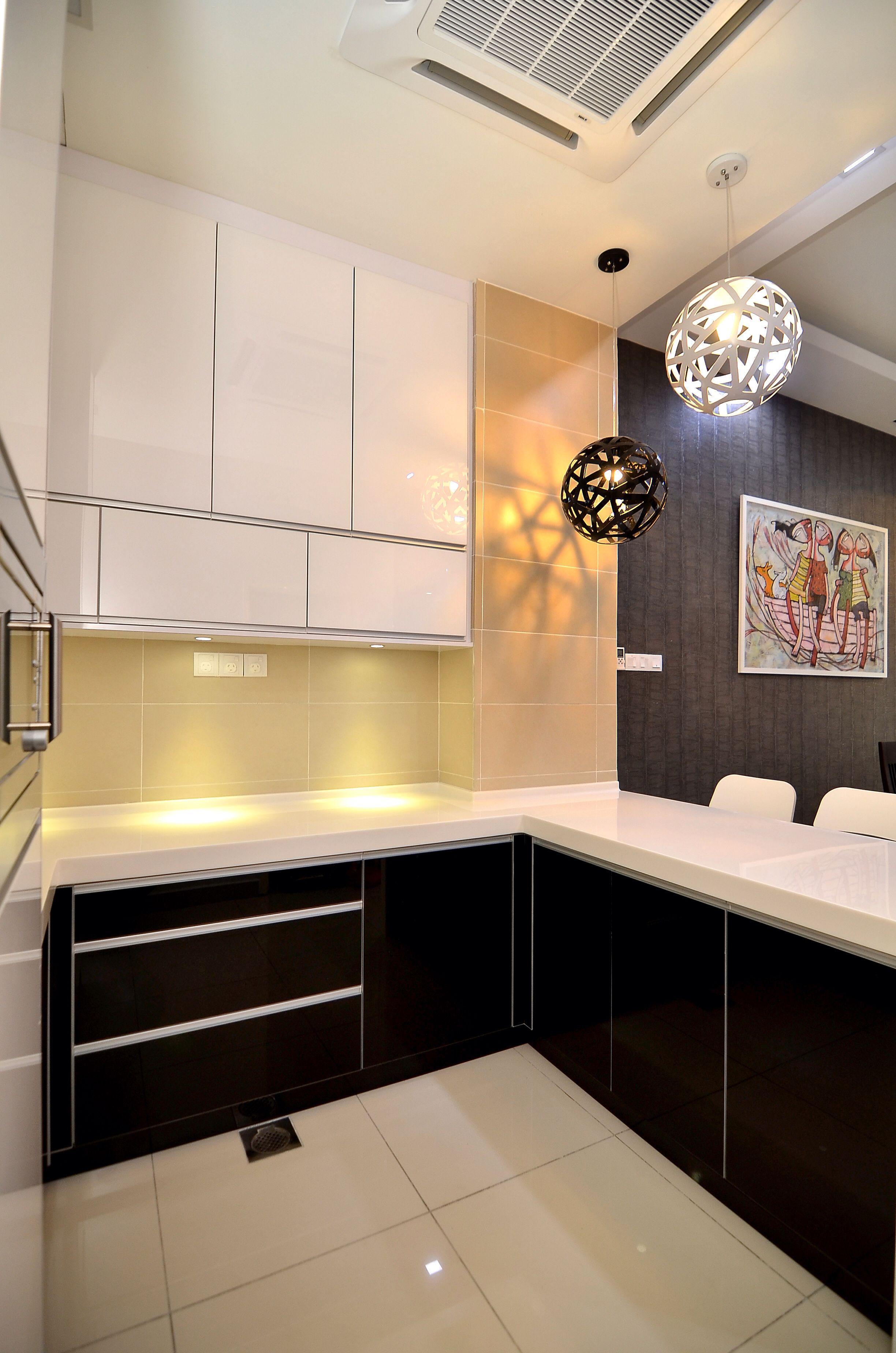 Modern Style Dry Kitchen Blackandwhite Interiordesign