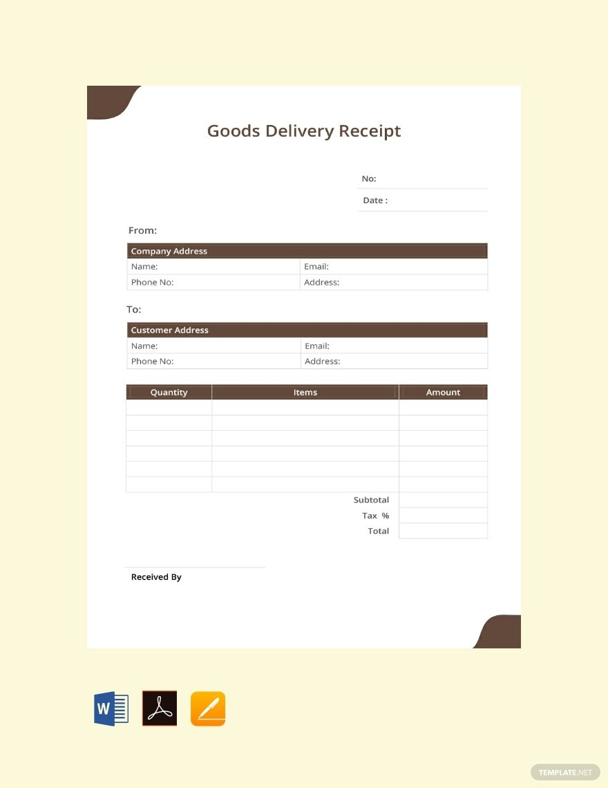 Goods Delivery Receipt Template Free Pdf Word Excel Apple Pages Google Docs Google Sheets Receipt Template Templates Business Icons Design