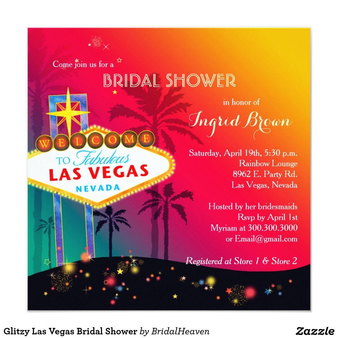 Glitzy Las Vegas Bridal Shower Invitation | Bridal shower cards ...