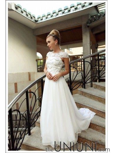 12a71eeb264f Elegant Diamond Embossed Lace Wedding Dress