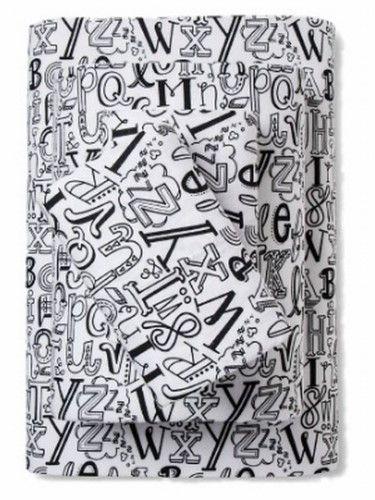 Pillowfort Flannel Sheet Set Alphabet Doodle Twin Bed Size Sheets Bedding,  Black
