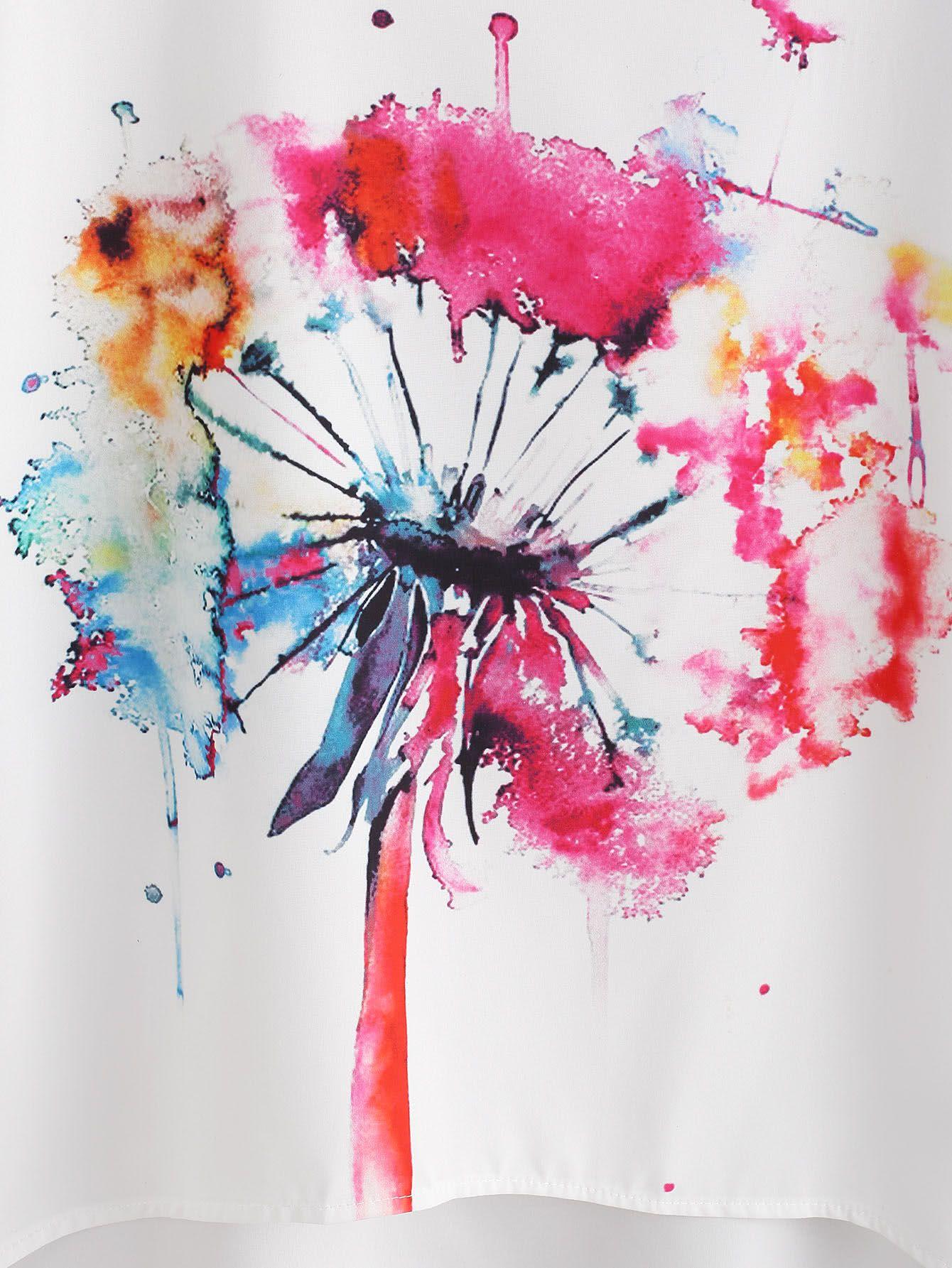 Watercolor Painting Print Dip Hem Chiffon Top -SheIn