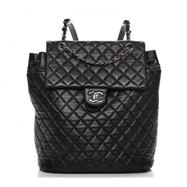 b6ce68aa582d CHANEL Lambskin Quilted Large Urban Spirit Backpack Black ❤ liked on  Polyvore featuring bags, backpacks, backpack bags, chanel, zip backpack, ...