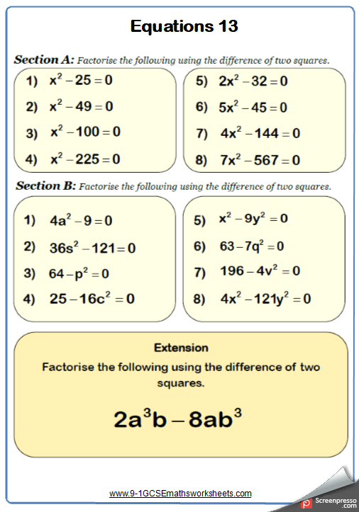 Difference of two squares maths worksheet | GCSE Maths Worksheets ...