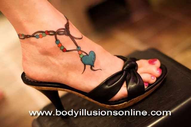 Anklet Tattoo i like the blue heart