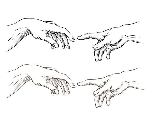 Download Adam Hand And Hand Of God Like Creation. Hope And Help, Assistance And Support Religion, Vector Illustration for free