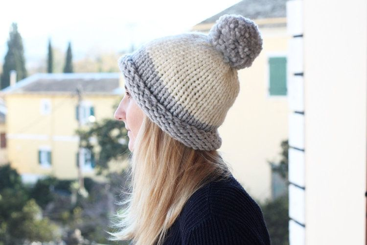 Free Two Tone Colour Block Bobble Hat Knitting Pattern Knit Hat