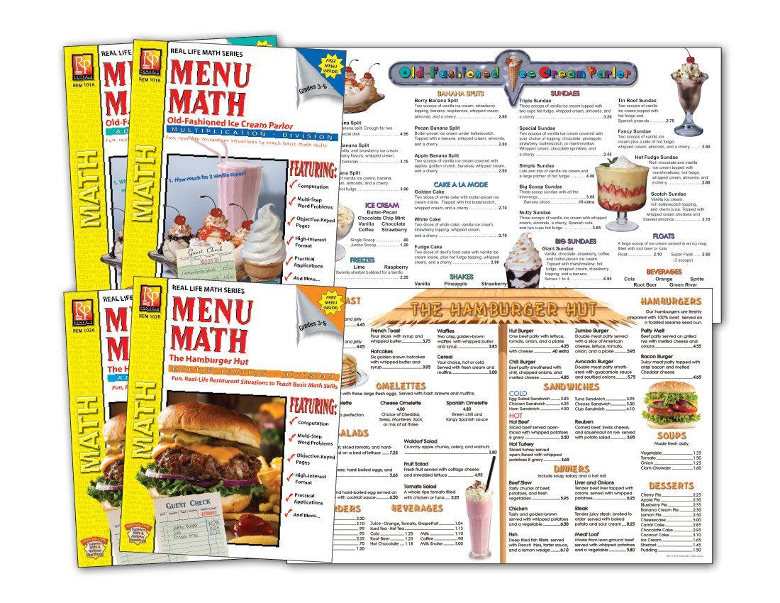 Menu Math Printable Restaurant Math Worksheets Money In 2020 Math Worksheets Math Printables Math Fact Worksheets