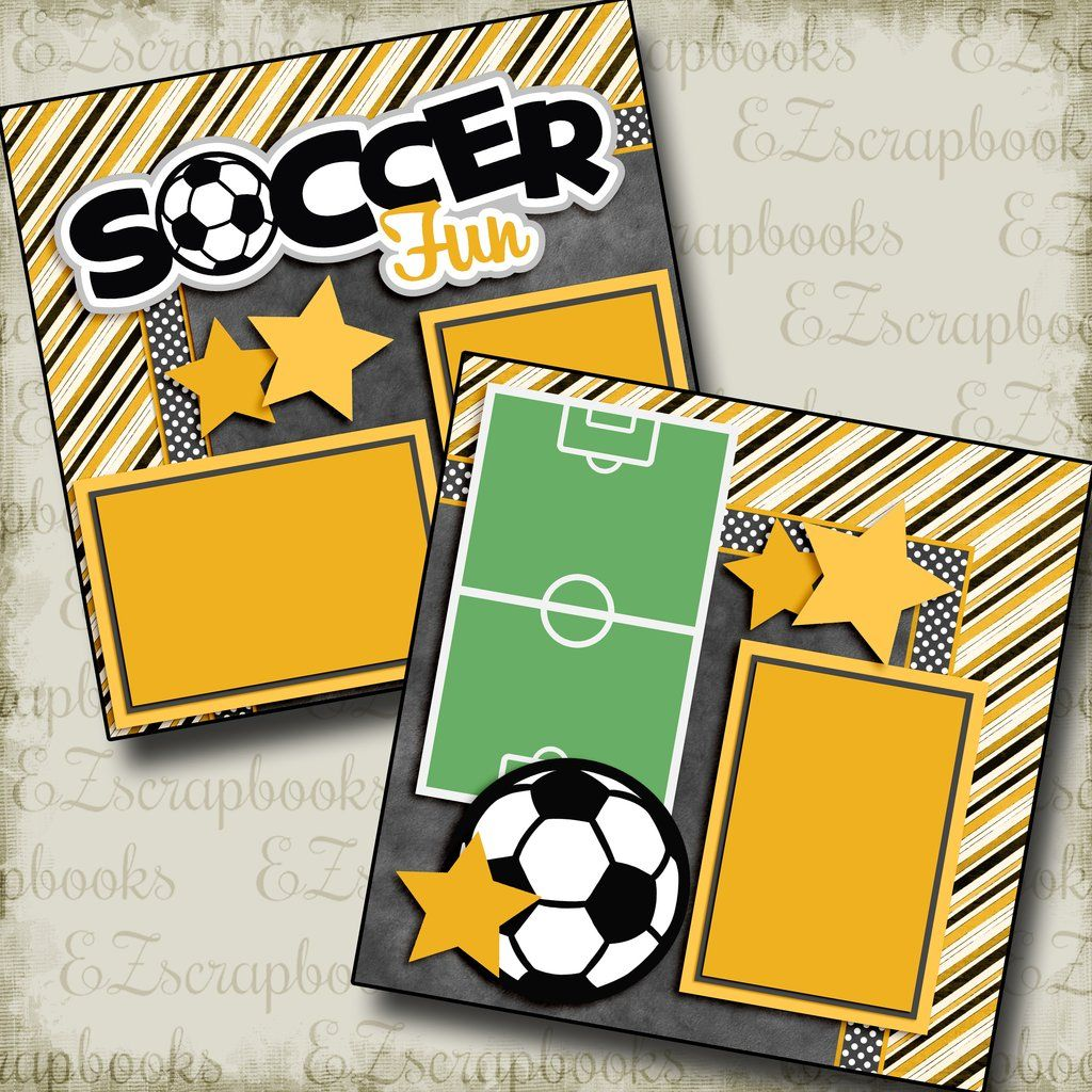Football set of 4  sports embellishments  Premade Scrapbook Pages Die Cut