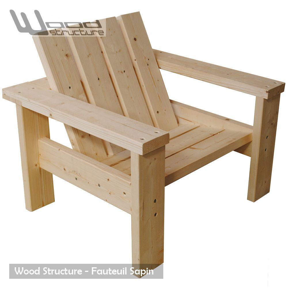 Salon de jardin fauteuil bois en sapin du nord for Fauteuil jardin palette