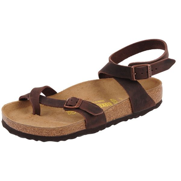 Birkenstock Yara ($120) ❤ liked on Polyvore featuring shoes, sandals, brown, toe strap sandals, brown sandals, birkenstock, flat sandals and brown flat shoes