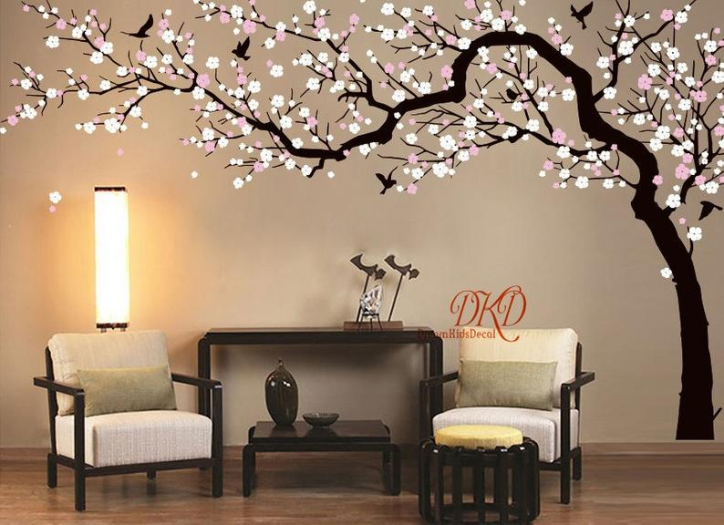 Cherry Pink Blossom Tree Large Flower Tree Decal For Nursery Decoration Tree Wall Decal Mural Dk251 Pink Blossom Tree Tree Wall Decal Tree Wall Painting