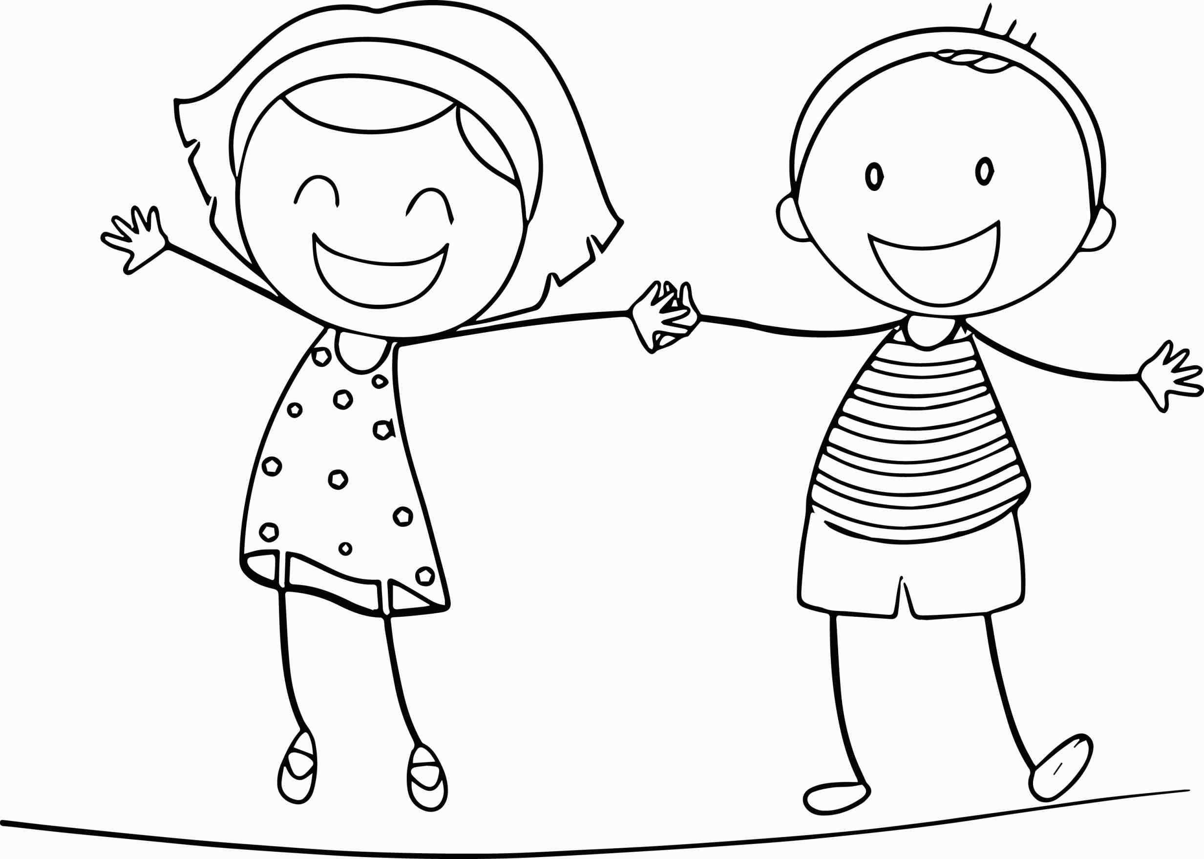 Boy And Girl Holding Hands Coloring Page Web Coloring Pages