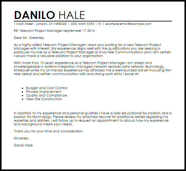 Telecom Project Manager Cover Letter Sample Cover Letter ...