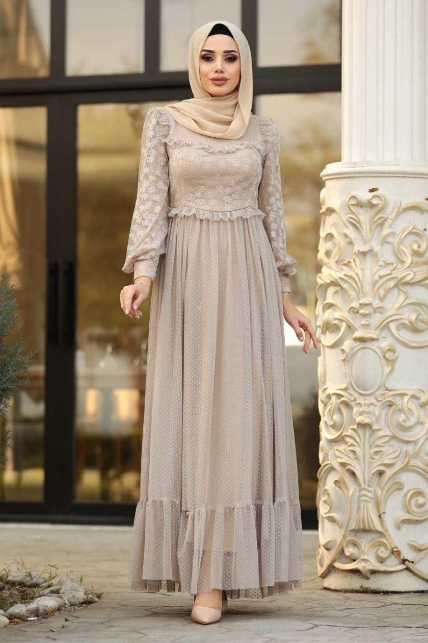 Tesetturlu Abiye Elbise Tesetturlu Abiye Elbise Puantiyeli Bej Tesettur Abiye Elbise 3873 Muslim Fashion Outfits Muslim Fashion Dress Dress Brokat Muslim
