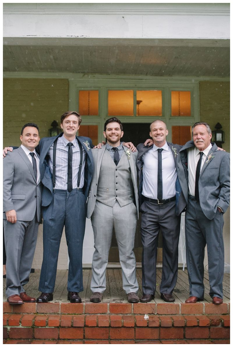 Wedding Party Groomsmen Gray Suits Maple Grove Inn Knoxville TN Photos