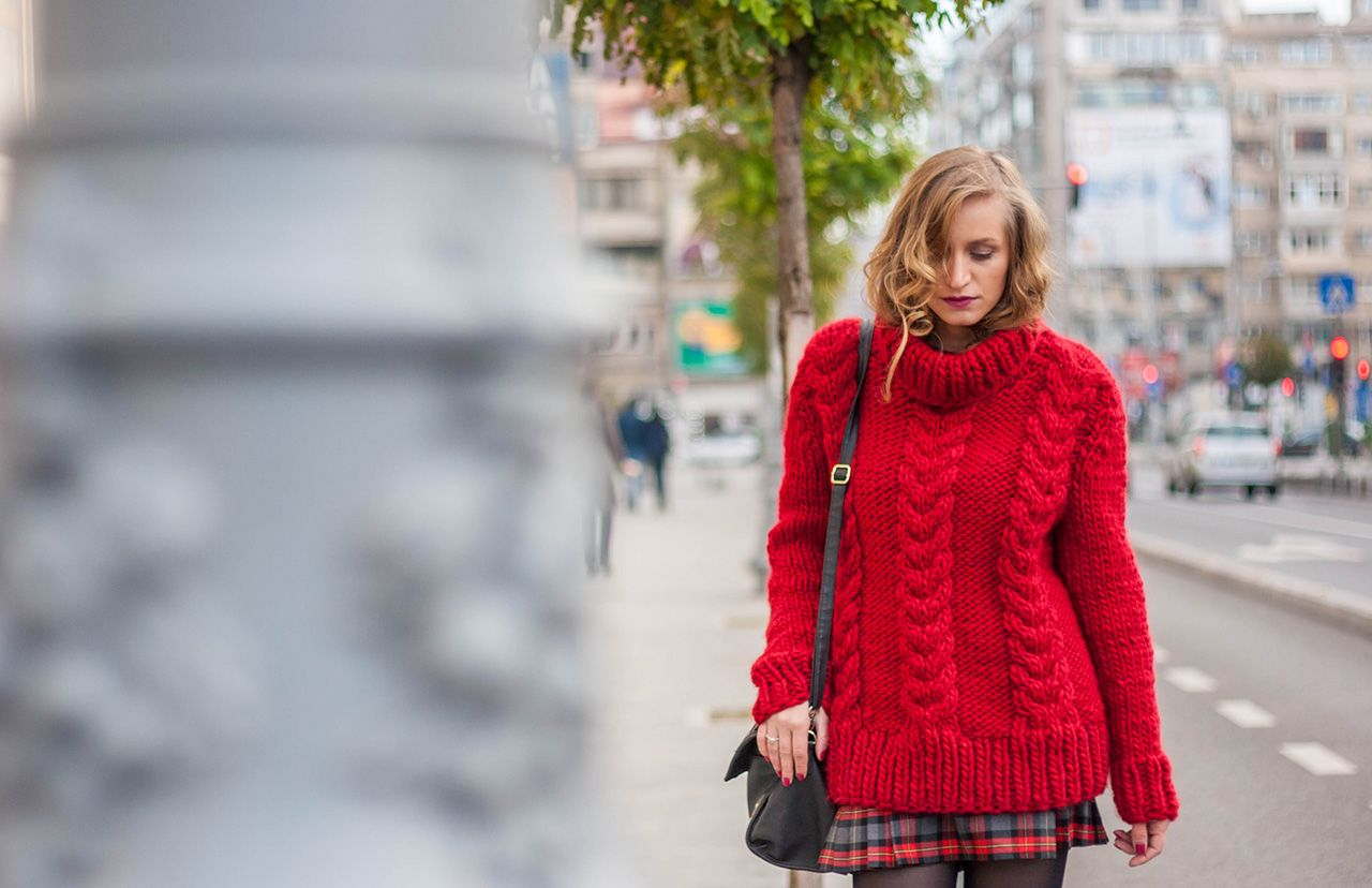 street style red knitted sweater winter | Thick Sweaters 4 ...