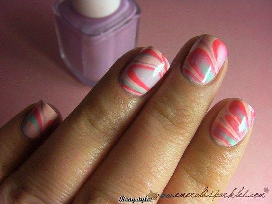 Beautiful Water Marble Nail Art Designs Reny Styles Nails