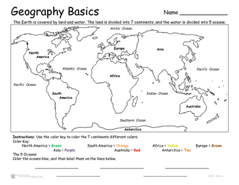 Continents And Oceans Geography Basics Continents Oceans