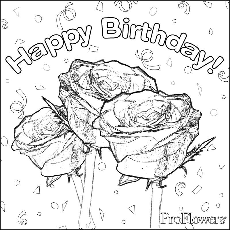 Also Roses Flower Happy Birthday Coloring Pages Mom Coloring