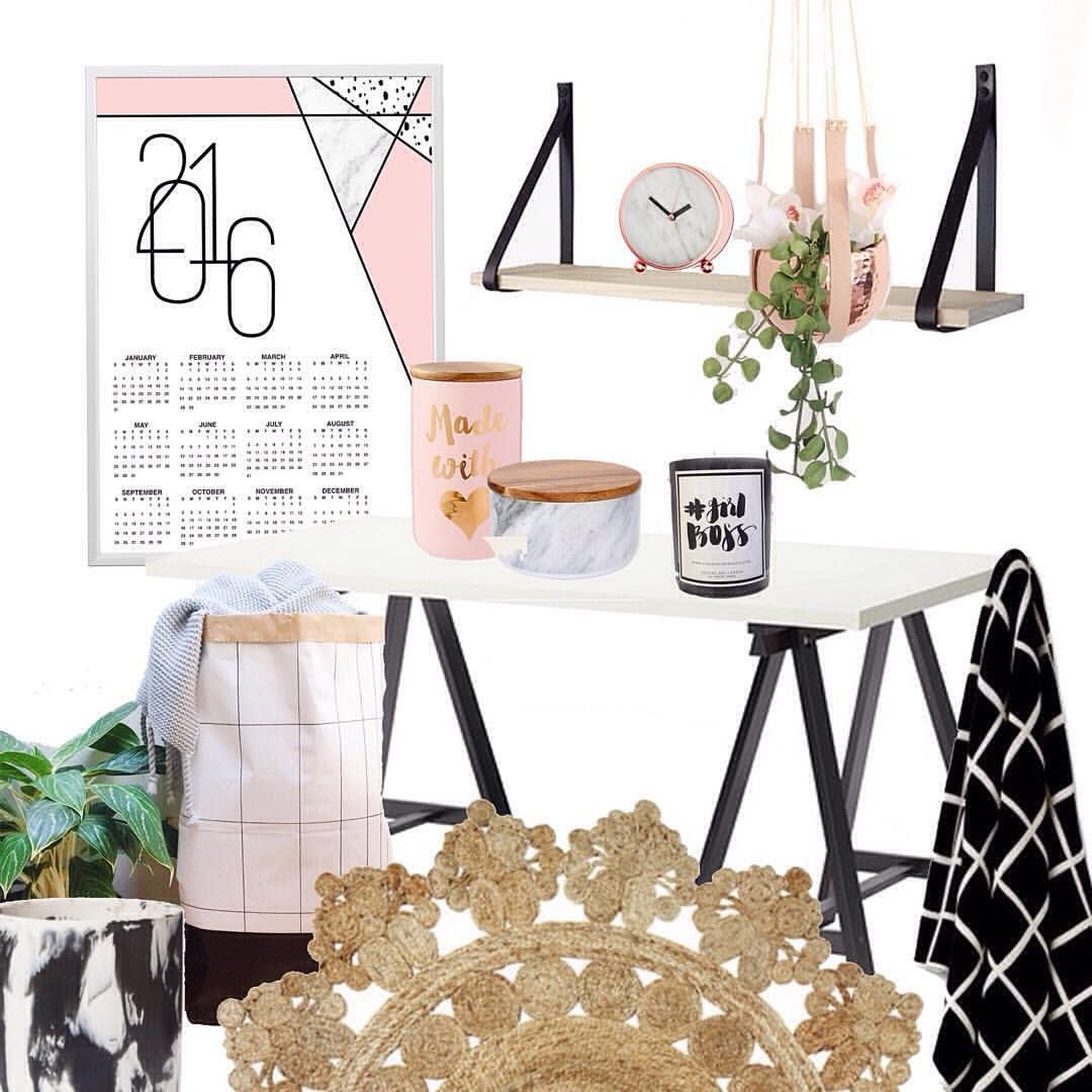 """""""Did you catch my 2016 calendar release last night? Here's another design amoungst my current #homeoffice loves   Rug and zakkia cloud pot from…"""""""