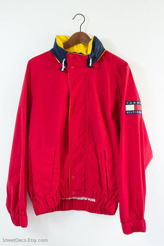 53d672cf0797 Vintage 90 s Tommy Hilfiger Red Hooded Sailing Jacket