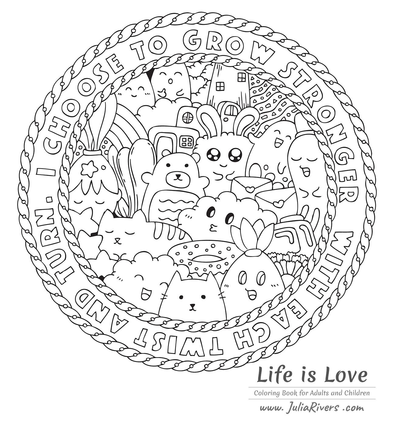 'Life is love' : Beautiful coloring page full of funny