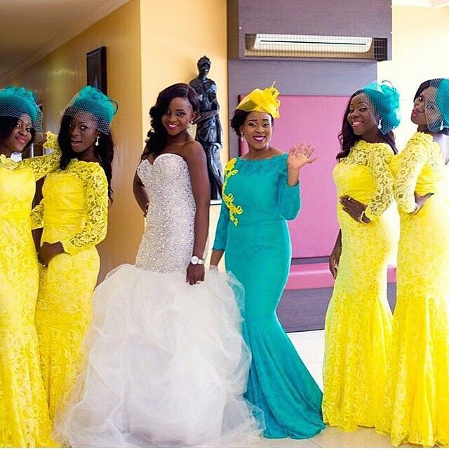 Yellow and blue | African bridesmaids
