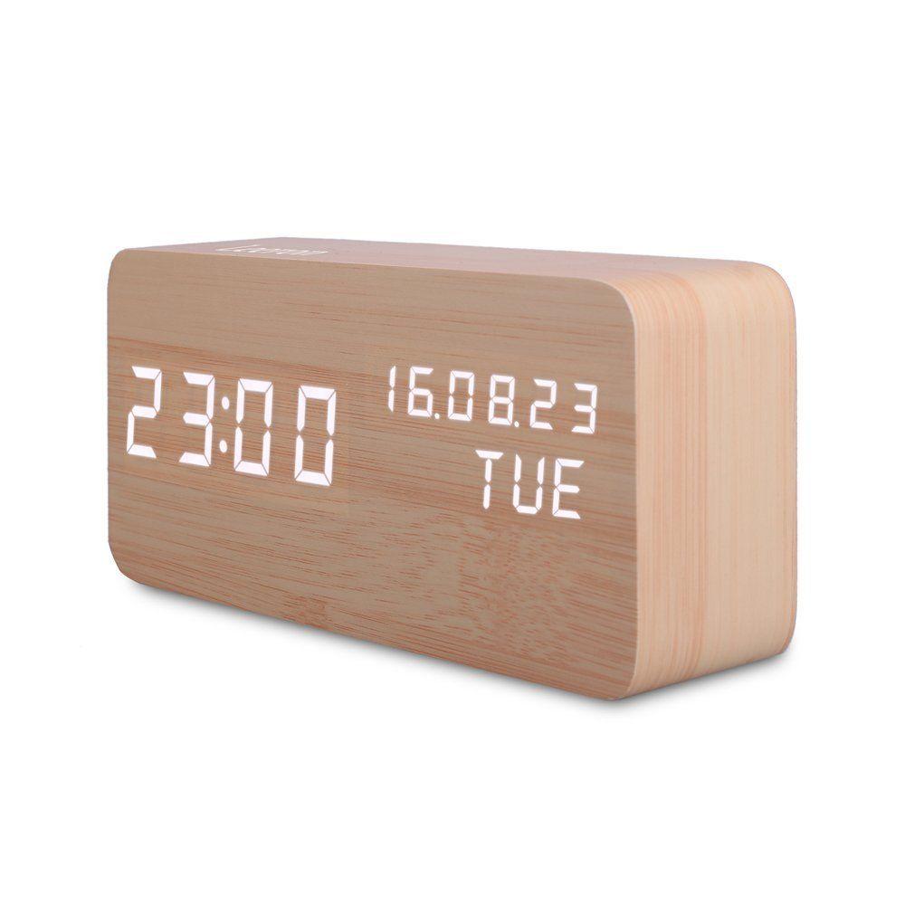 Cool Digital Clock Wooden Modern Good Design Kids Alarm Clock