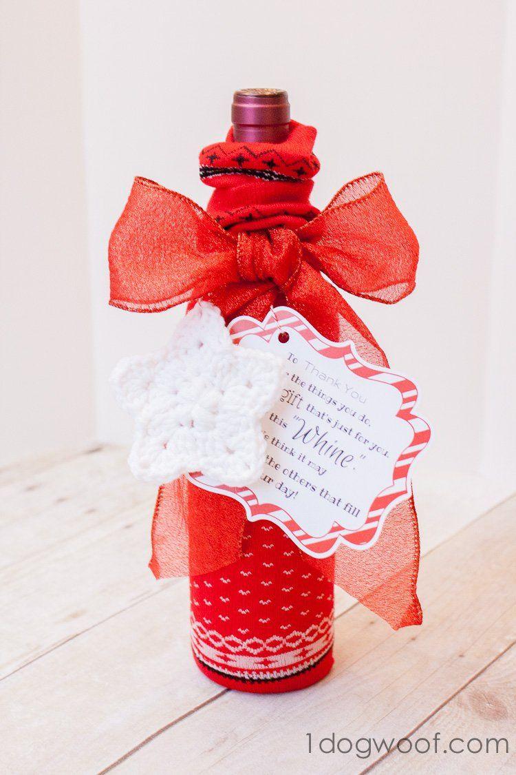 Wine Bottle Sock Cozy Bottle Crafts Whine Gift Diy Teacher Christmas Gifts