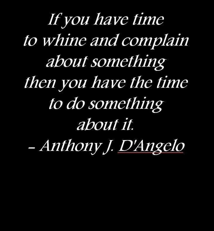 If you have time to whine and complain about something then you have the time to do something about it - Anthony J. D'Angelo