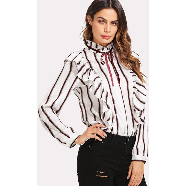 07f62d370b58c3 Tie Neck Frill Trim Striped Blouse ( 22) ❤ liked on Polyvore featuring tops