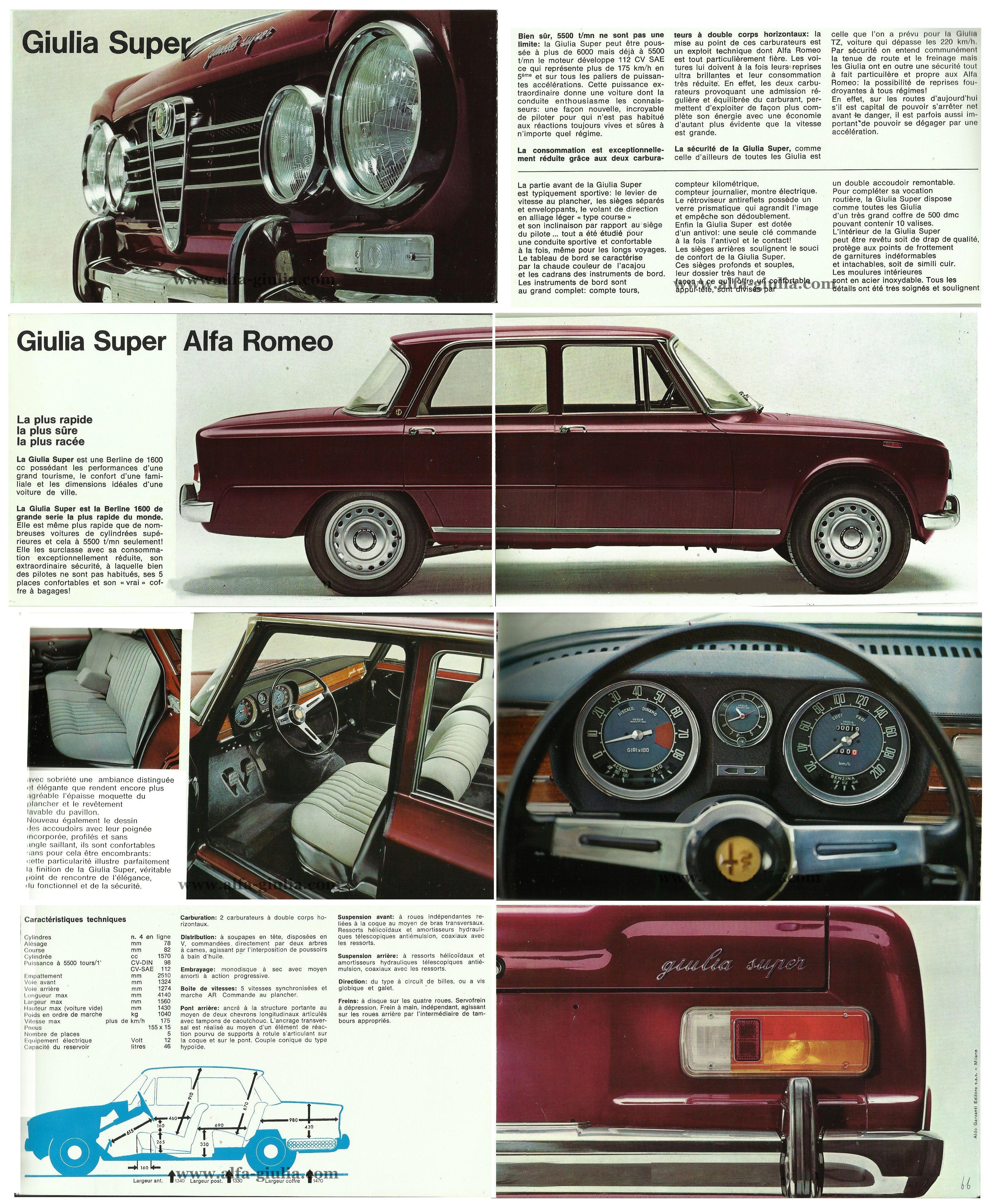 BROCHURE GIULIA SUPER 1969