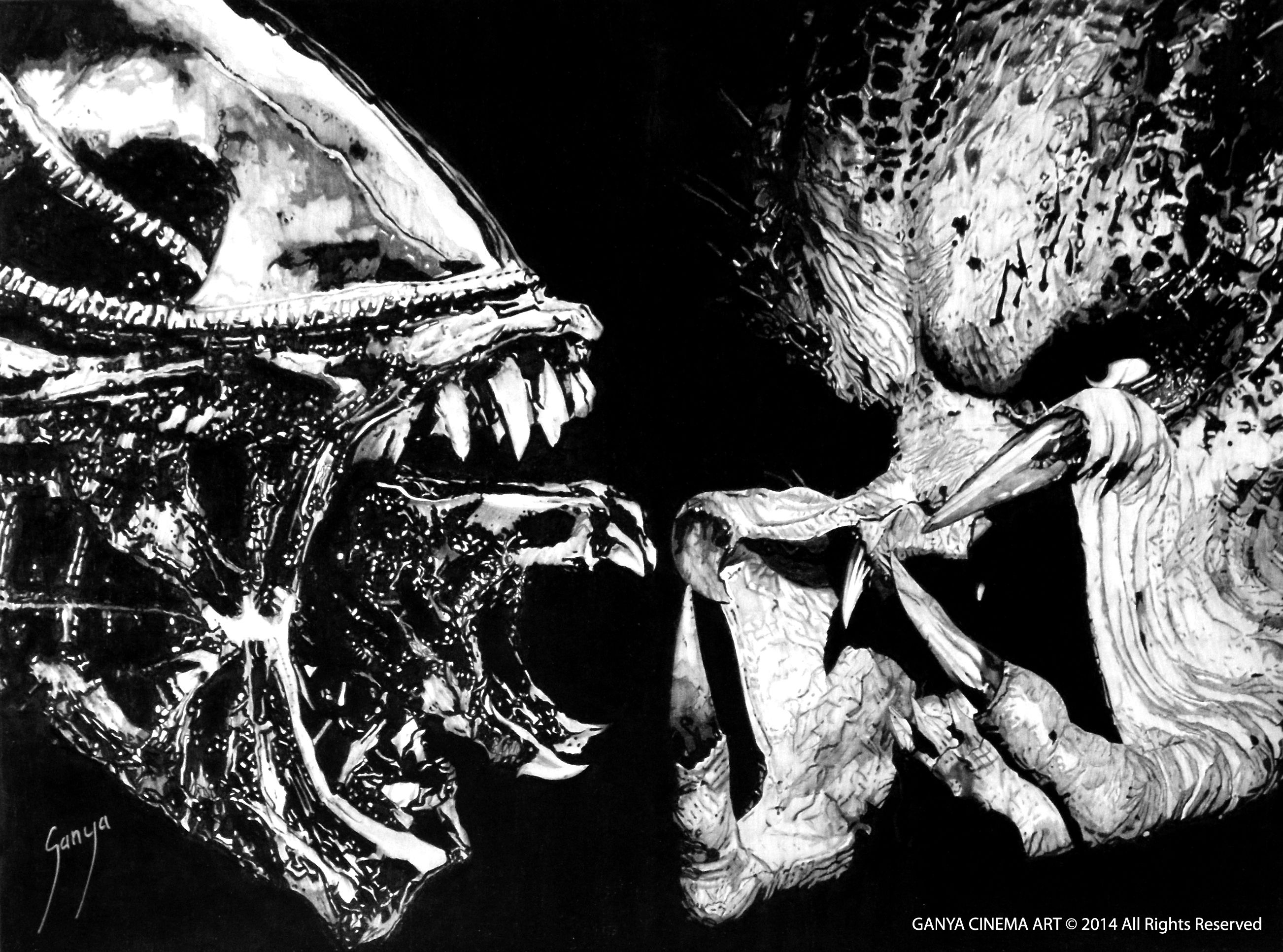alien vs predator 2004 graphite pencil on wood 45 x 60