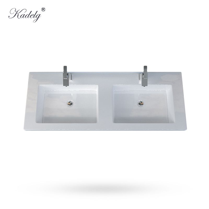 Quartz Double Bowl Vanity Top In Sparkling With White Sink Non