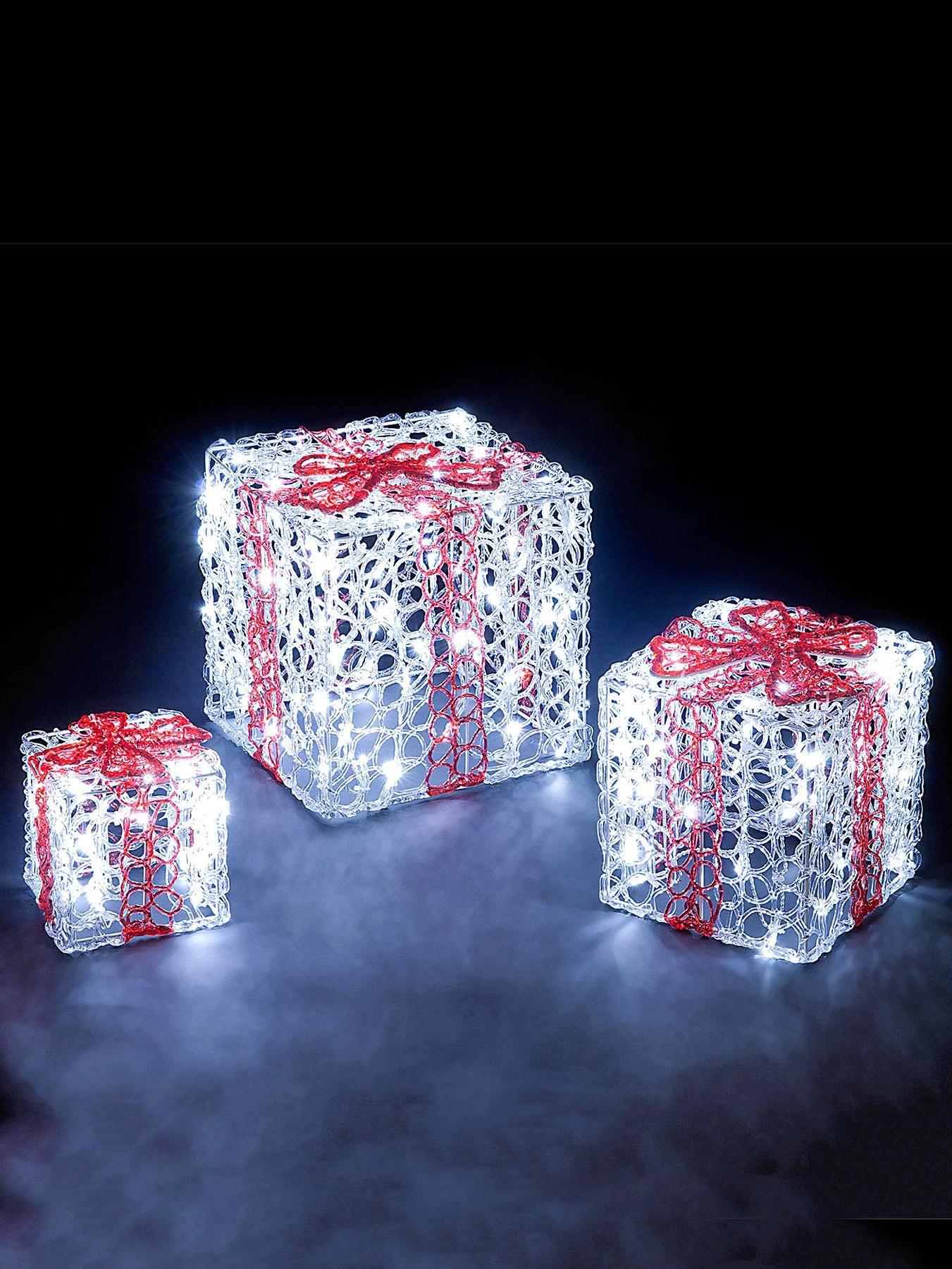 Acrylic Led Gift Box Outdoor Christmas Decorations (Set Of 3)