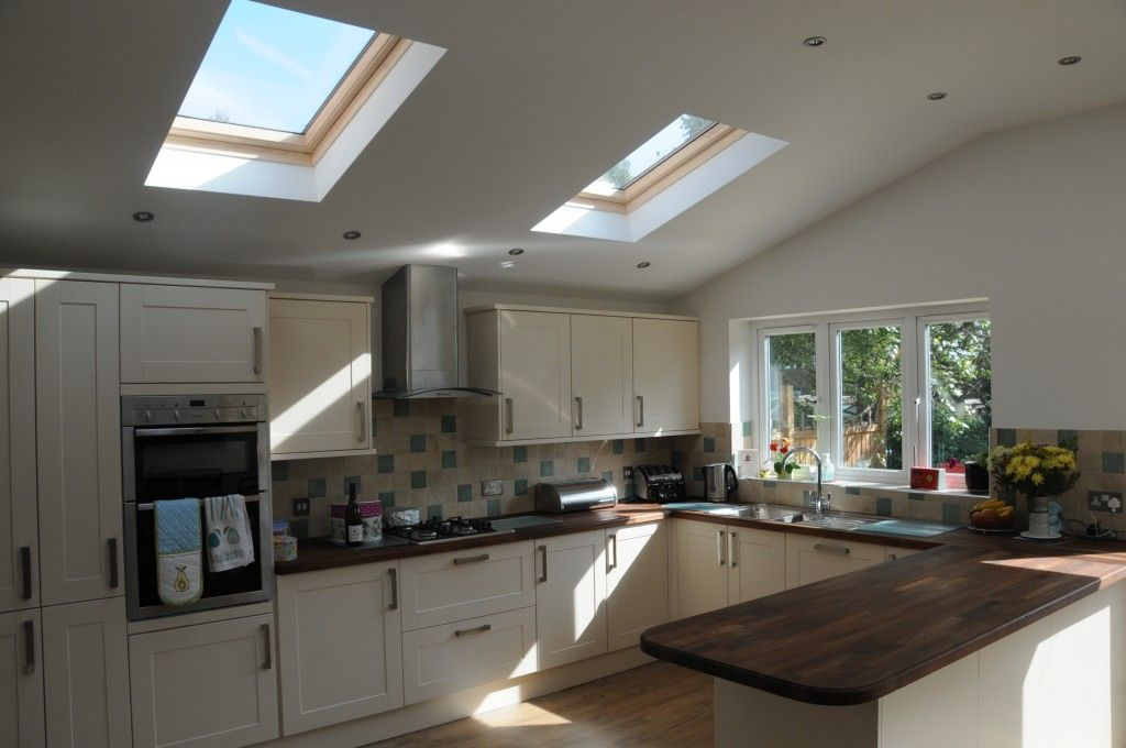 Inside now complete kitchen extension with velux windows for Kitchen ideas extension