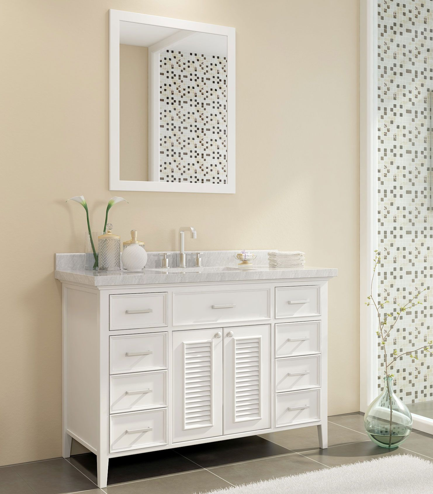 Ace Kensington 49 Inch Single Sink Bathroom Vanity Set In White Finish