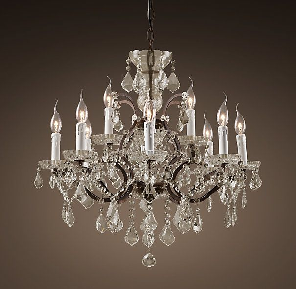 19th c rococo iron crystal chandelier medium overall 26 diam 25 h chain 24 l cord 10 39 l Master bedroom chandelier size