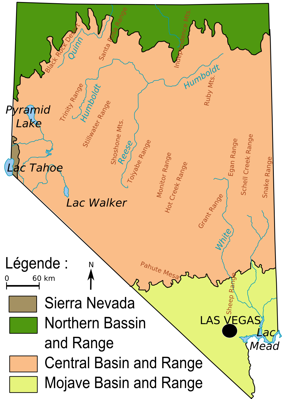 Map of Ecoregions in Nevada, USA | maps | Map, Geology, History