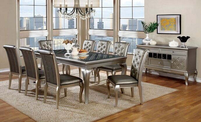 Cm3219t 7pc 7 Pc Pelia Amina Champagne Finish Wood Dining Table Set With Glass Insert Top Dining Room Furniture Modern Formal Dining Room Sets Dining Room Furniture Sets