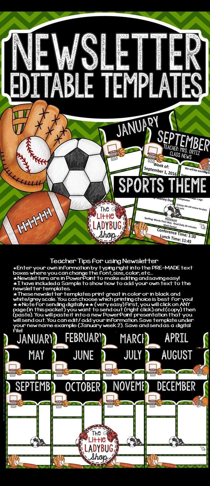 Sports Theme- Newsletter Templates Editable | Newsletter templates ...