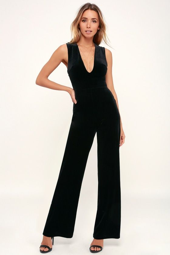 f815b01de20 Best of Luxe Black Velvet Backless Jumpsuit