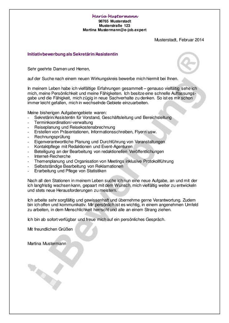 Initiativbewerbung Als Sekretarin Assistentin Beispiel Anschreiben Inhalt Initiativbewerb In 2020 Bewerbung Anschreiben Muster Bewerbung Anschreiben Bewerbung