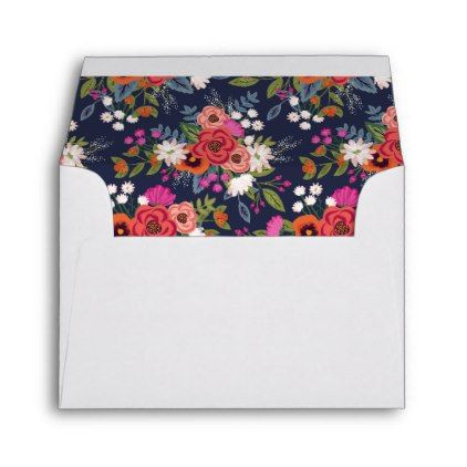 Bohemian Bouquet - White with Floral Liner RSVP Envelope - pattern - sample small envelope template