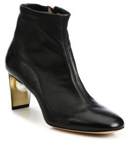 Nicholas Kirkwood Maeva Pearly Heel Leather Booties, fashion designers,  women's fashion, outfit sets