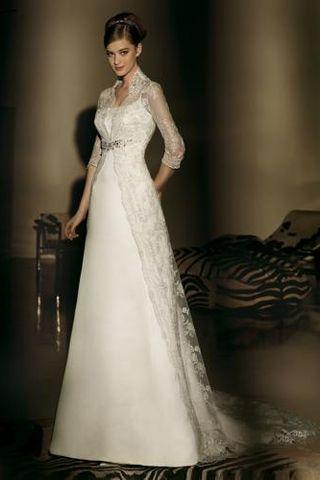 High Collar Full Length Wedding Dresses | Modern Wedding Gowns ...