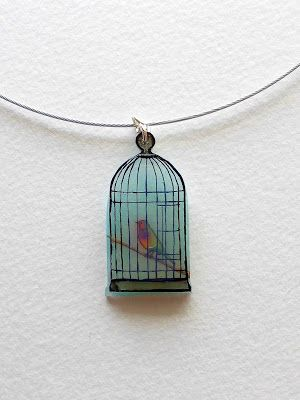 Shrinky dink bird cage necklace