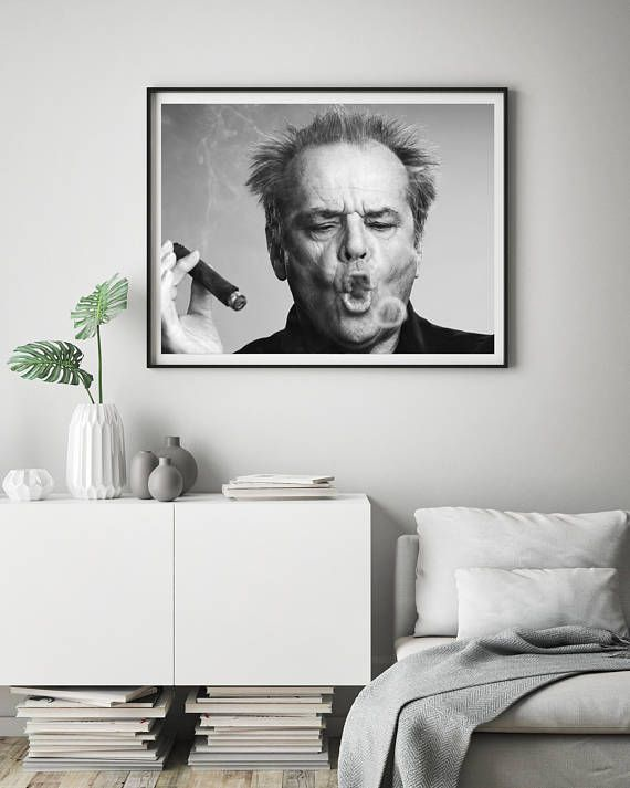 Canvas Wall Art Framed Print Jack Nicholson Smoking Various Sizes