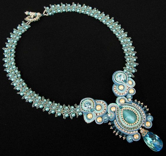 Gorgeous Necklace by Cielo Design  http://www.etsy.com/listing/93063239/crystal-blue-soutache-and-pearl-necklace